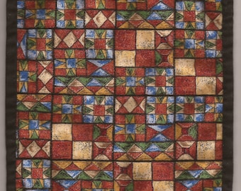 "Free US Shipping! Miniature #6025 Southwest Dollhouse Quilt or Rug 7.5"" Square Great for OOAK Sculpt Doll"