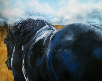 Waiting to Give you a Ride Lone Dark Horse Pasture Fields under Dramatic Sky Original Oil Painting by California Artist