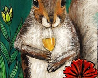 Squirrel Drinking Wine, Woodland Creatures Fine Art Print by Carol Iyer