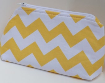 Cosmetic Pouch, Make Up Bag, Zippered, Carry All  - Yellow and White Chevron