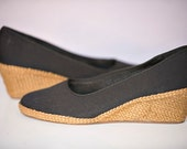 Black Wedge Canvas Jute Espadrille Shoe Size 9 M Unworn Vintage Deadstock