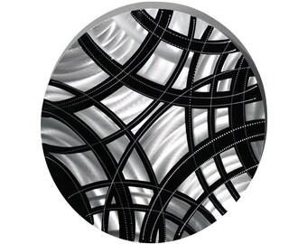 Round Black & Silver Modern Metal Wall Sculpture - Contemporary Metal Art - Abstract Metallic Accent Decor - Crisscross by Jon Allen