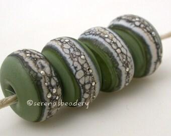 Lampwork Glass Bead Set OLIVE GREEN Matte Silvered Granite Handmade - taneres
