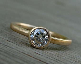 Moissanite and Recycled 14k Yellow Gold Engagement Ring - Diamond Alternative - Made To Order