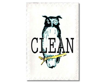 Dishwasher Clean Dirty Magnet flip Sign Old Owls vintage image birds NOW Stainless Steel Option Wife Gift
