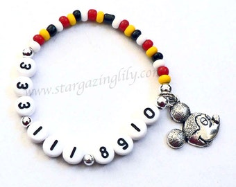 Mickey Mouse look charm bracelet. Name Bracelet for BOYS & GIRLS Personalized name bracelet, phone number bracelet, cell phone number, ICE