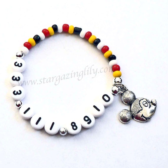 Mickey Mouse Charm Bracelet: Mickey Mouse Jewelry Name Bracelet For BOYS OR By