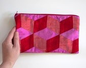 Zipped Clutch Red and Pink 3D Cube Purse Silk Bridesmaids Gift