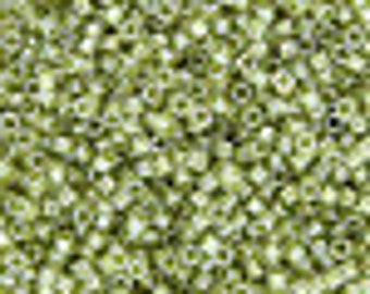 DBV903- Lined Crystal/ Shimmering Light Green Gold Delica Beads