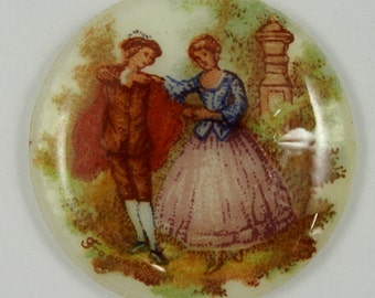 25mm Pastoral Courting Couple Cabochon #1198