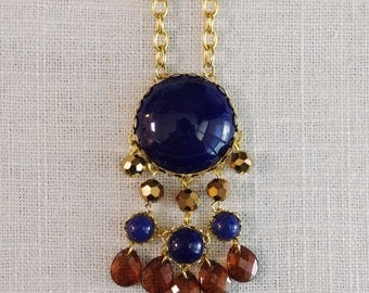 norwich . navy . long colorblocked abstract circle bubble necklace