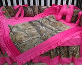 New bumperless brown real tree CAMOUFLAGE baby crib bedding set w/ hot pink minky dot fabrics camo