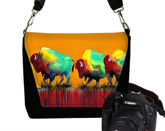 Clara Nilles Dslr Camera Bag Cool Buffalo Digital SLR Messenger Bag Padded  Bison unique orange red turquoise yellow RTS