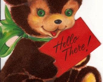 Vintage Doe & Christmas Wreath Greetings Card (B1)
