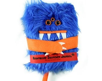 Nightmare Snatcher children's fuzzy monster dream journal, blue orange monster book Growlby