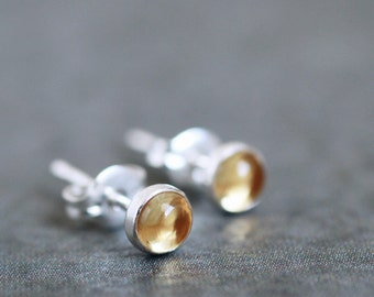 Golden yellow CITRINE 4mm stud earrings sterling silver posts