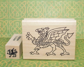 Welsh Dragon Rubber Stamp Set of 2 Symbol of Wales #RSS25