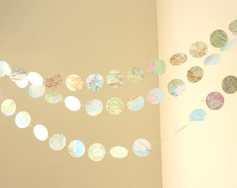 "Repurposed atlas 2"" circle paper garland 12 ft. wedding garland,bunting,photo prop,party decoration,shower decoration,map garland"