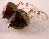 Vintage topaz glass brass acorn top, gold filled earrings