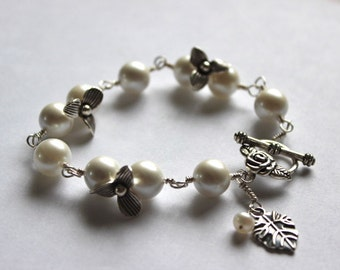 Freshwater Pearl Bracelet Sterling Silver Floral Mothers day gift