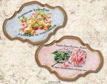 PRINTABLE DIGITAL LABELS French Floral Labels Tags Scrapbooking Journals Roses