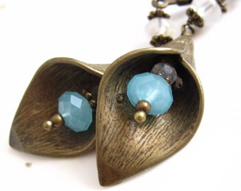 Calla Lily Earrings - Moonstone, Chalcedony and Brass Earrings