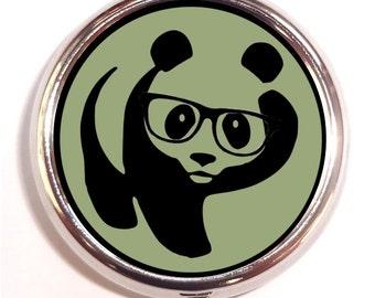 Panda Nerd Pill box Pill Case Holder Pillbox Kitsch Hipster Anthropomorphic Panda in Eyeglasses Glasses Holds Guitar Picks Trinket Box