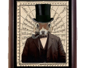 Steampunk Squirrel Man Cigarette Case Wallet Business Card Case Sweetheartsinner