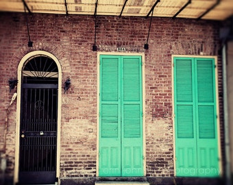 new orleans photography french quarter architecture door photograph aqua green decor wall art shutters