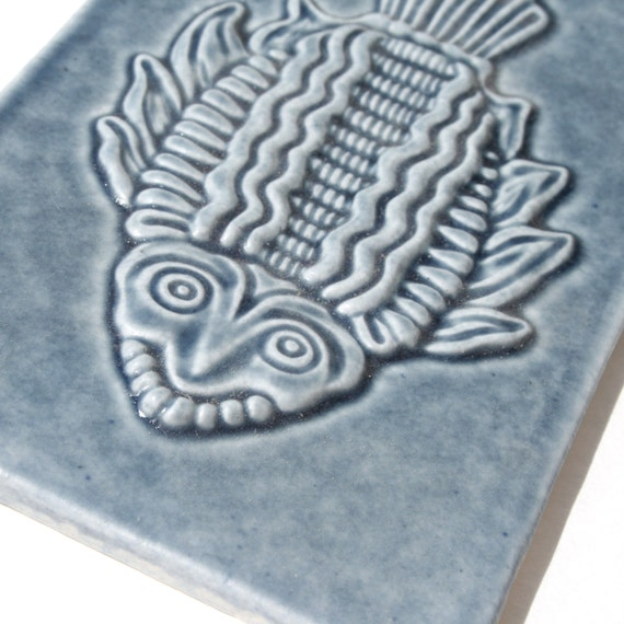 Inuit Inspired - Shaman Fish - carved and glazed in Slate blue - handmade ceramic tile.