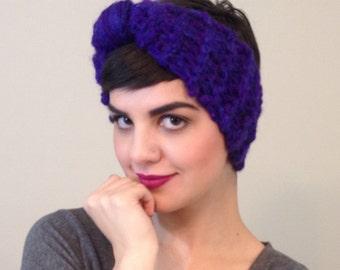 Royal Purple Knit Turban Headband - Chunky Knit Turband in Recycled Wool Mohair Yarn - Ecofriendly Ecofashion Upcycled Handmade Handknit