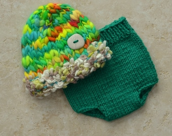 RTS Newborn Baby Boy Knit Outfit BaBY PHoTO PRoP Green Hat Diaper Cover SET Lime Yellow Orange CHuNKy Beanie SToNE BuTToN Cap Coming Home