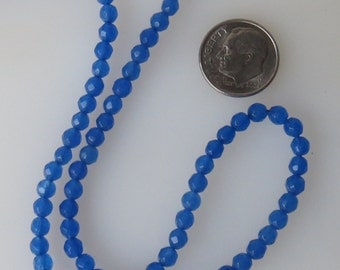 Blue Jade Faceted 4mm Round Beads, Half Strand