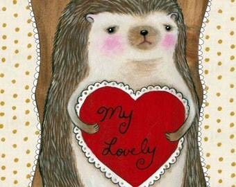 "Hedgehog heart art print, ""My Lovely"""