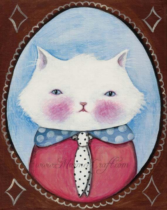 """Cat art print, """"Miss Kitty Cabinet Portrait"""""""