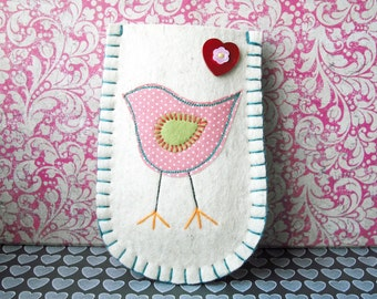 Felt Phone Sleeve - Pink Polka Dot Bird