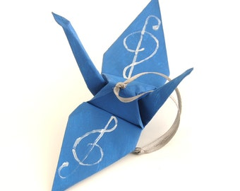 Silver Treble Clef on Steel Blue Handpainted Origami Crane Ornament, Music Inspired