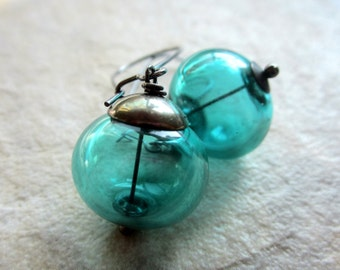 Teal Hollow Glass Earrings, Oxidized Metal,   Hollow Lampwork Glass,  Teal Jewelry,