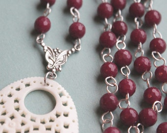 Ruby Beaded Necklace - Carved Bone Pendant - Sterling Silver