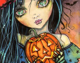 Little Halloween Witch  5 x 7 Giclee Print - Fantasy Art by Molly Harrison