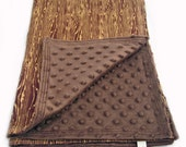 Baby Blanket Chocolate Wood Grain Faux Bois Woobie with Brown Minky Dot Chenille