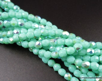 3mm Czech Glass Beads - Firepolished Faceted Opaque Turquoise AB - (G - 5)
