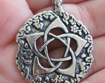 Pewter PENTACLE Pendant Hedgewitch Green Magick