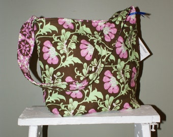 Island Girl Bags Slouch Bag in Amy Butler Brown and Pink