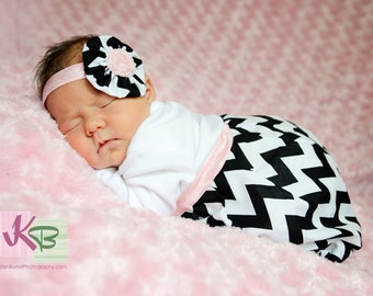 BOUTIQUE Baby CHEVRON LAYETTE... Infant gown... in black and white