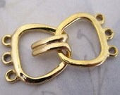 3 sets gold tone 3 strand clasps 21mm wide - f4114