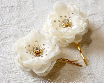 Bridesmaid Hair Flowers - Flower Girl Hair Pins -  Wedding Accessories - Wedding Mini Hair Flower Bobby Pins - Christie