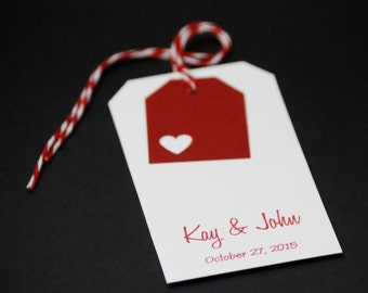 Double Layer Heart Tags, customized favor tags, party favors, gift tags, set of 10