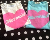 Oversized MERMAID shirt in White or SKY BLUE size S, M, or L