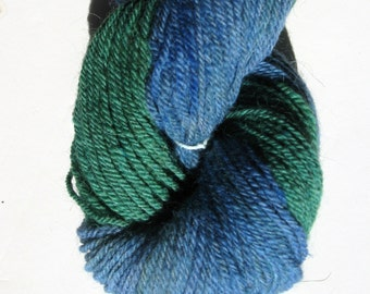 Blue and Green Alpaca and Wool Sock Yarn - 3 ply, Sport Weight - 250 yards. 2.4 ounces, 65 grams, for Knitting Crochet Weaving